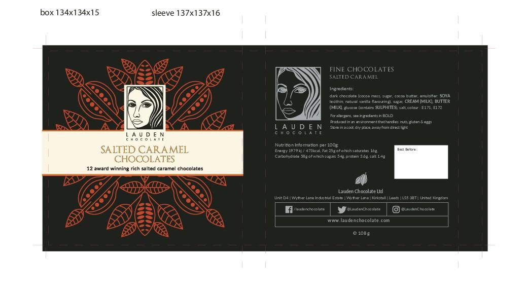 Chocolate box sleeve design for high end British chocolatier.
