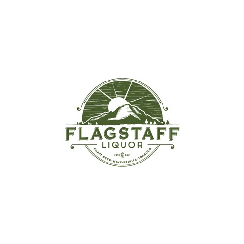 Vintage inspired logo for FLAGSTAFF liquor store