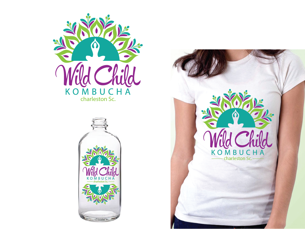"Create a Yoga inspired illustration for local kombucha company ""wild Child kombucha"""