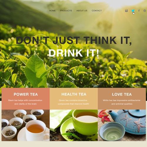 Landing page for healing teas