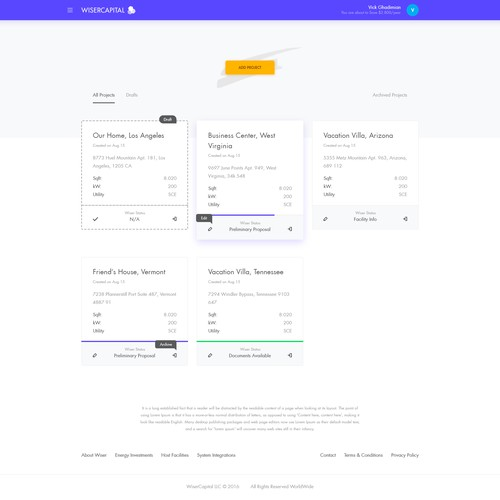 Dashboard for Solar Energy Company