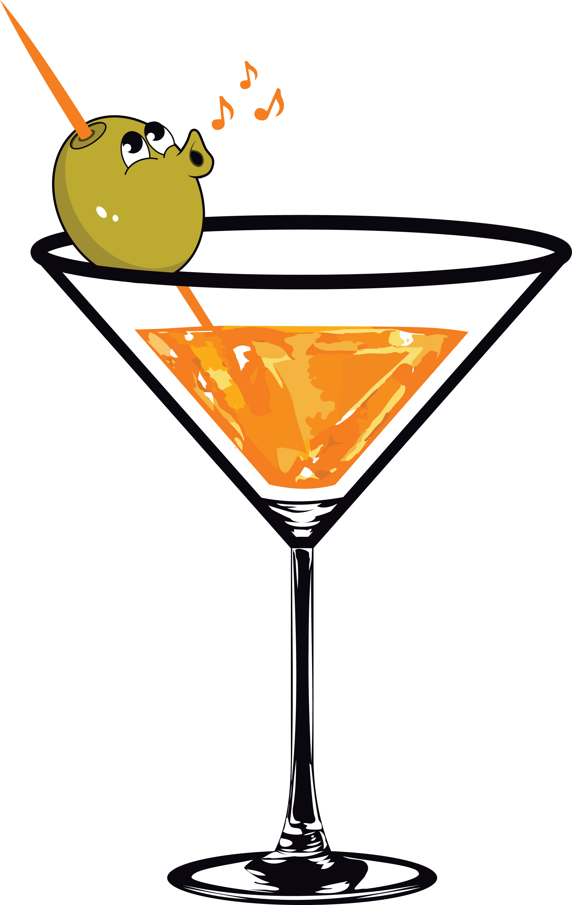 We need a Martini glass with a whistling olive in it. Be creative!
