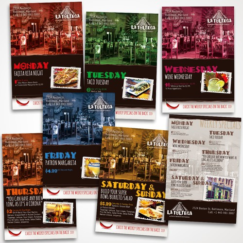 Flyer series for La Tolteca Restaurant – winner entry