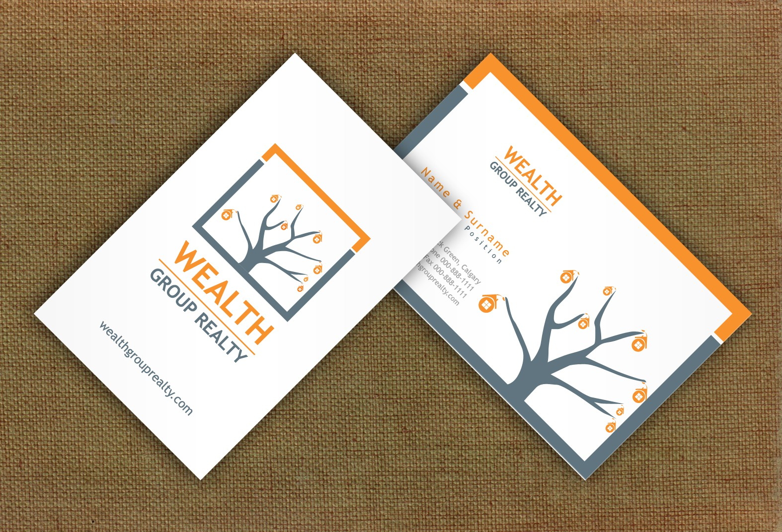 logo and business card for Wealth Group Realty
