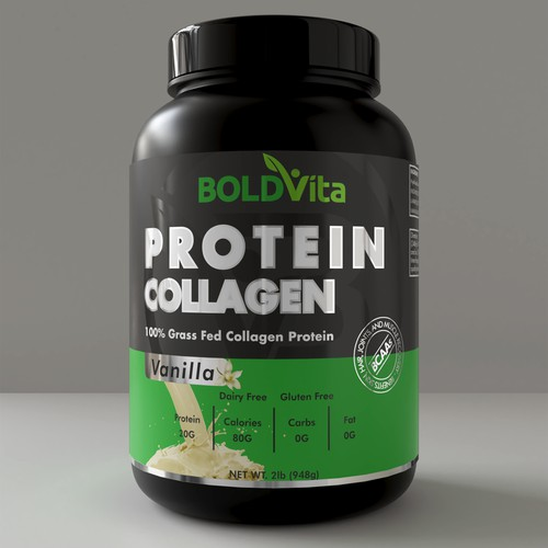 Packaging design concept for protein supplement brand.