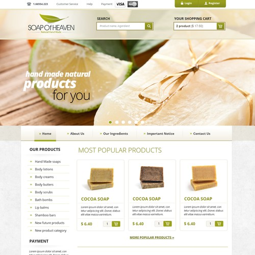 Soap of Heaven and Natural Hand Made Body Care Products needs a new website design