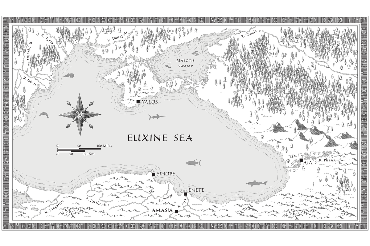 Black-and-white map of the Black Sea set during the Late Bronze Age