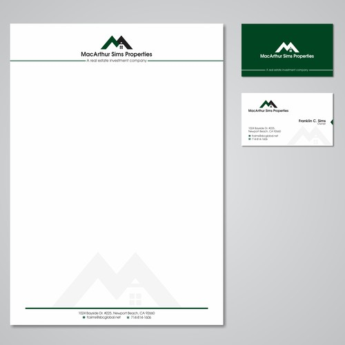 Create a modern dynamic logo and card for small family real estate company
