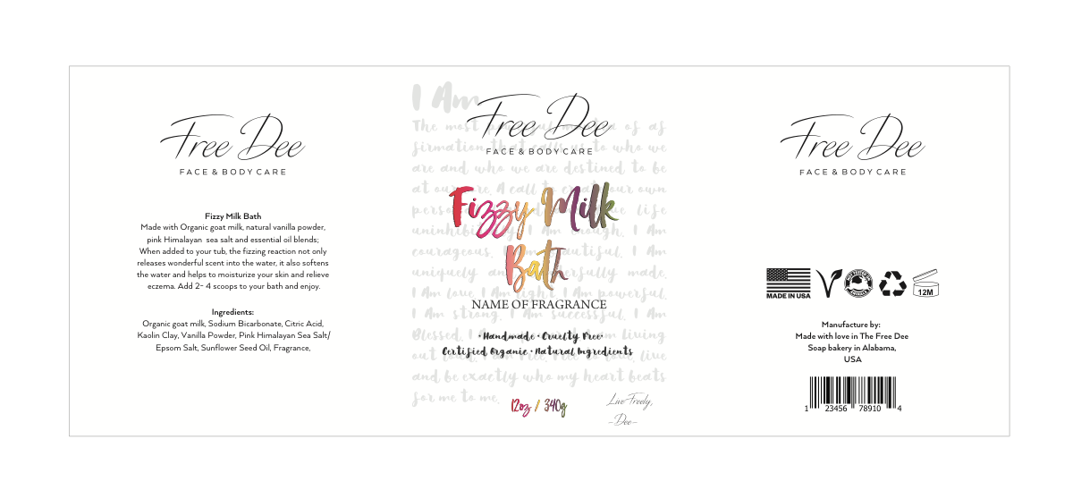 Create vibrant, eye cathing and unique labels for Free Dee Cosmetics
