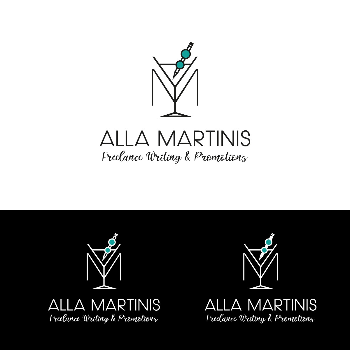 Alla Martinis -- we're two freelance writers with Italian last names. Make us a cool logo!