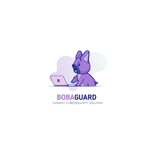 Fun, non-stereotypical cybersecurity logo featuring cute French Bulldog puppy