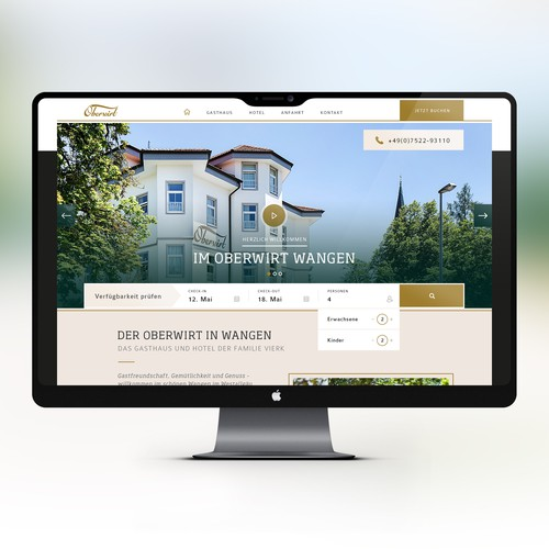 Website Layout for a hotel