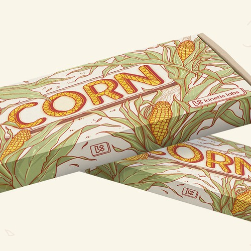 Illustrated packaging for a Corn keycap set
