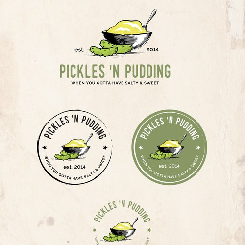 Logo for a small business selling homemade pickles and puddings at local farmer's markets and retailers.