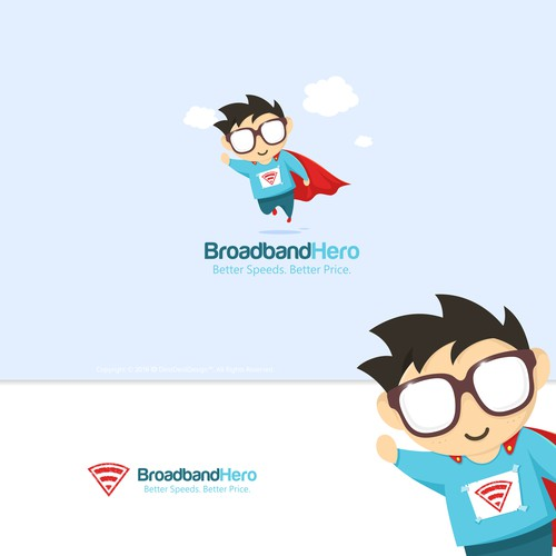 broadband hero mascot and logo