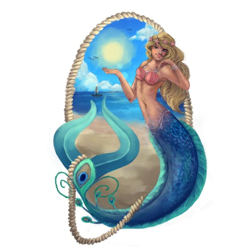 Design and illustrate a mermaid banner for a jewellery website