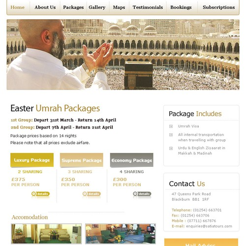 website concept for travel agency