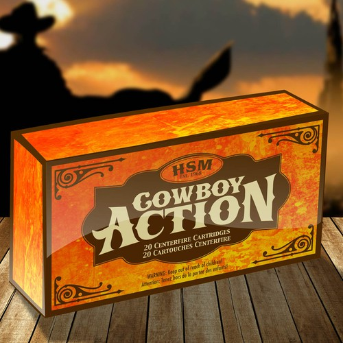 "Vintage Western Themed Package Design Needed for ""Cowboy Action"" Ammunition"
