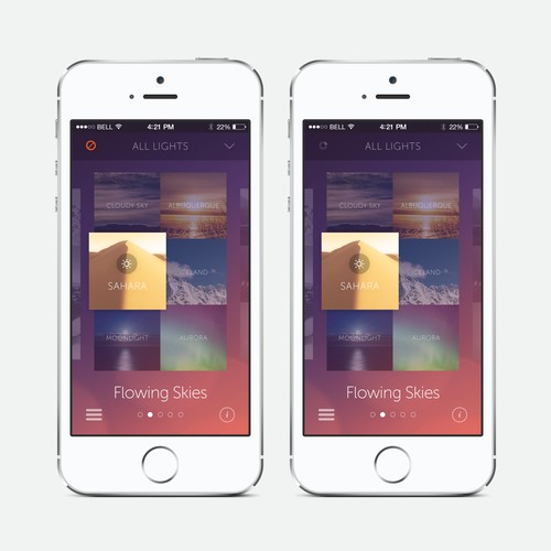 Create an cool, fluid, engaging lighting control app for OnSwitch Lighting Experiences.