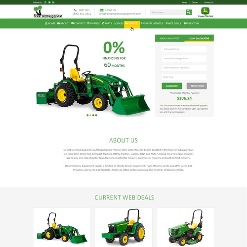 Exciting and engaging Wordpress design for a John Deere dealer