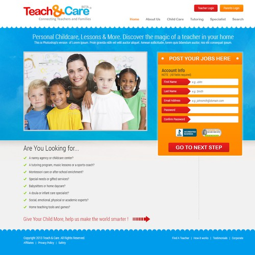 Landing Page Design for Teach & Care