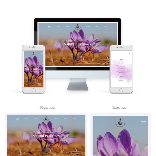 Natural perfumes homepage design