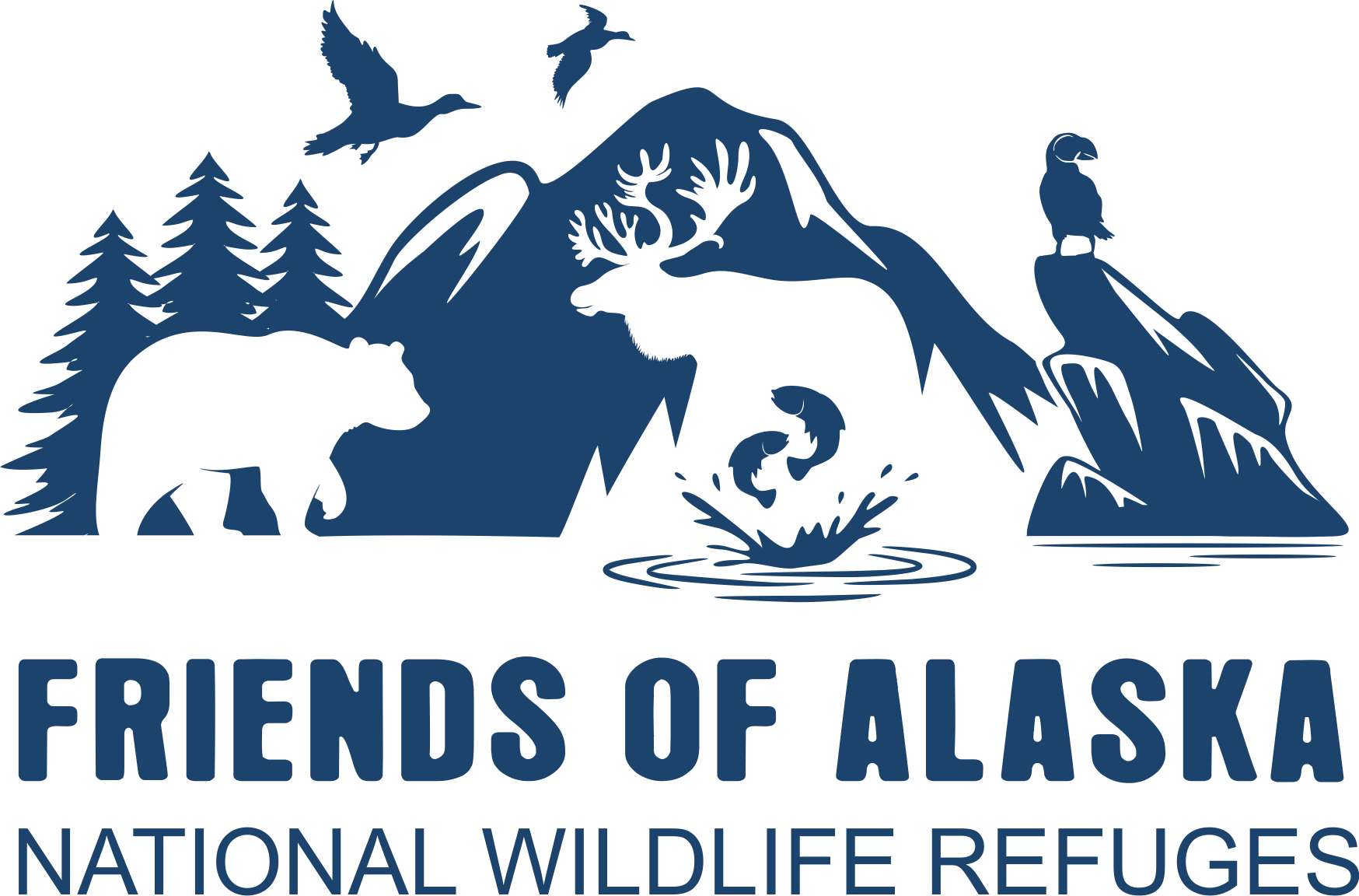 Create a timeless logo representing Alaska's vast wilderness and wildlife that inspires environmental conservation