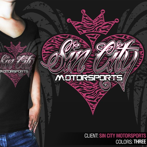 t-shirt design for WOMEN'S APPAREL for Sin City Motorsports