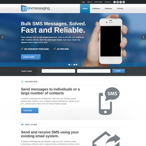 New website for SMS company crvMessaging