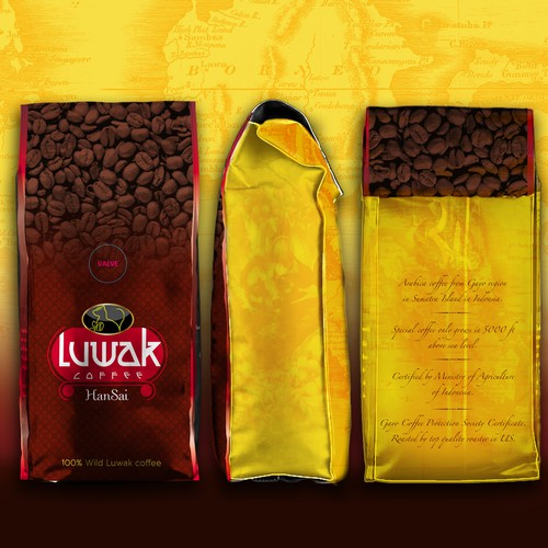 Specialty Coffee (Luwak Coffee) bag and box design.