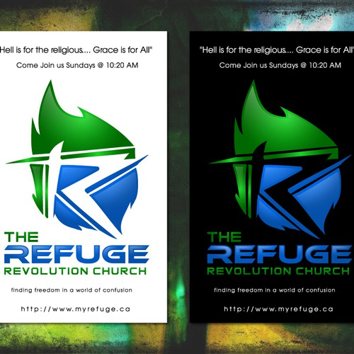 logo and business card for The Refuge {revolution church}