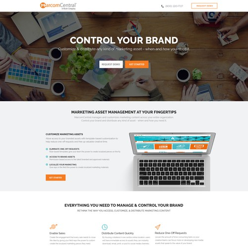Clean & Modern Landing Page for Marketing Software Company