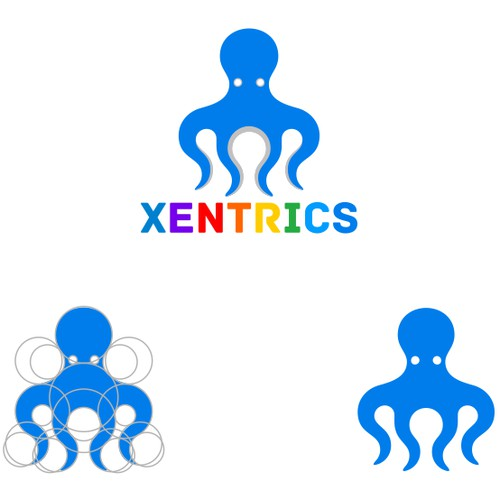 bold geometric octopus logo for XENTRICS