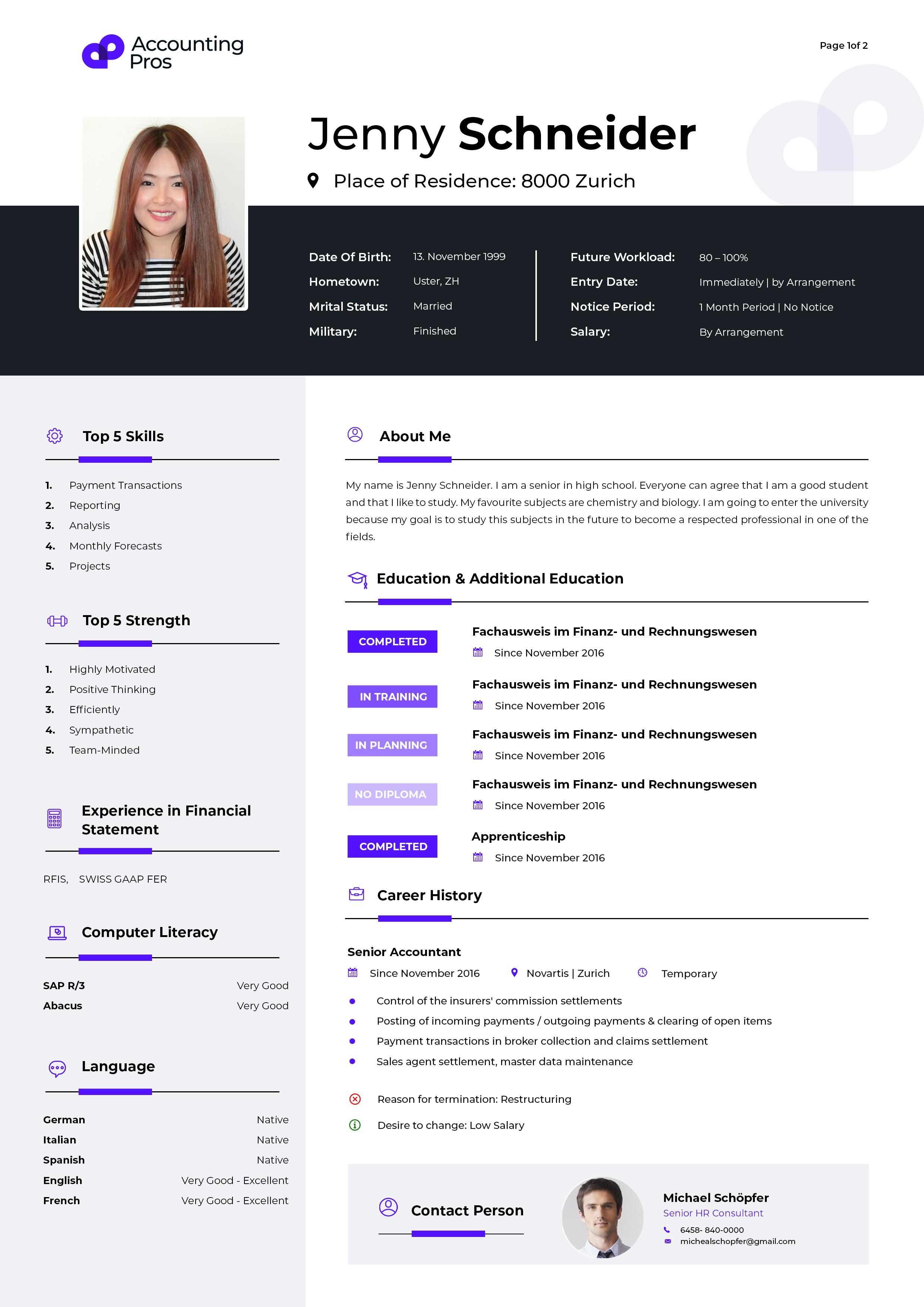 """Design a modern & sleek CV Template for an """"Accounting"""" Recruitment Agency"""