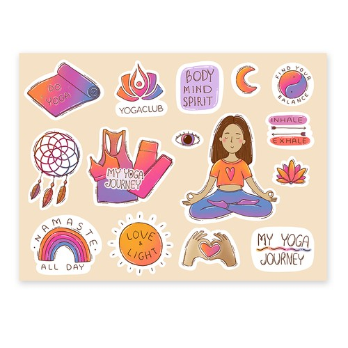 Sticker Set for the yoga community