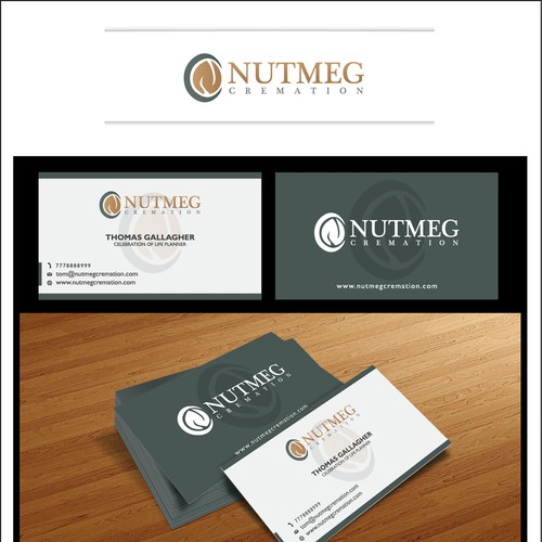 Create the next logo and business card for Nutmeg Cremation