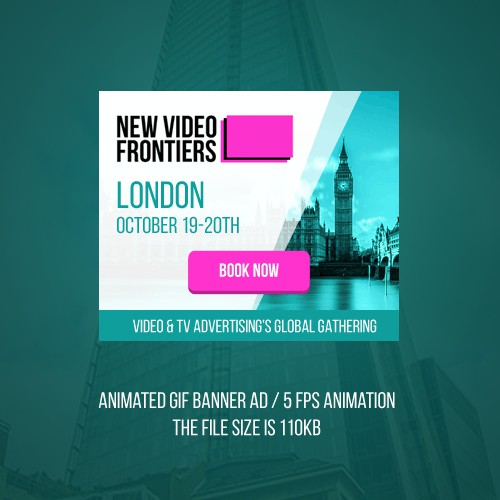 Animated banner ad design for Video & TV Advertising's Global Gathering