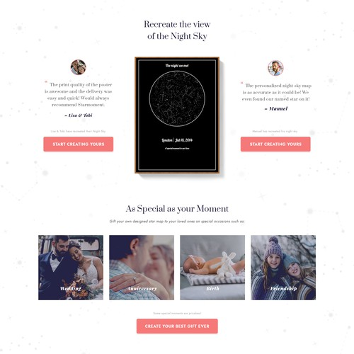 Home page concept for StarMoment - Night Sky Poster Website