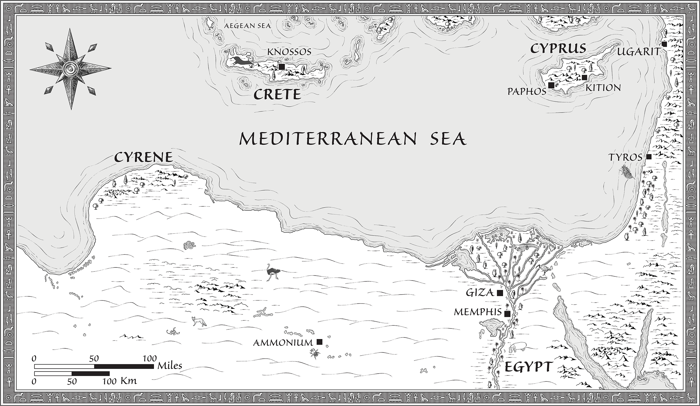 Black and white map for a self-published fantasy/adventure novel set in the Late Bronze Age