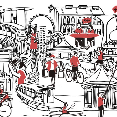 Illustration for Singapore tourism