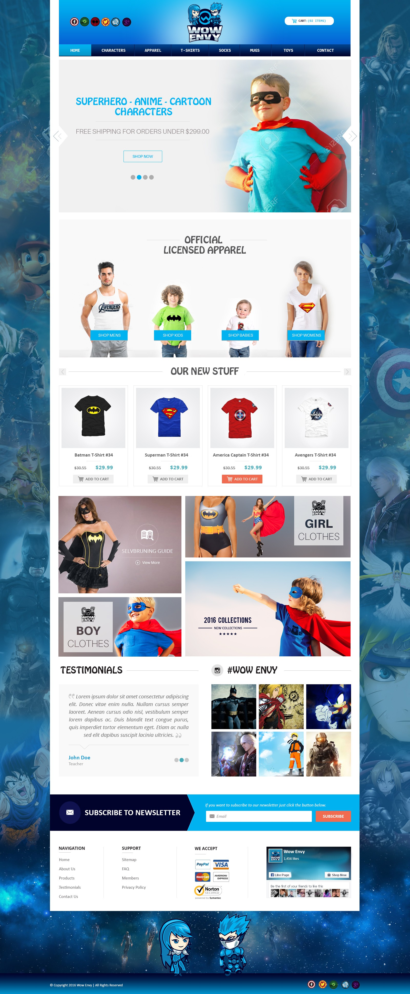 Create web design for a new apparel store