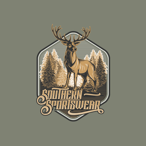 """Southern Sportswear"" Apparel & Screen Printing Hipster / Retro Illustrated  Logo Design"