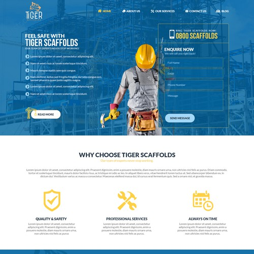 Tiger Scaffolds - construction web page