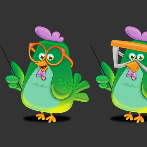 Create illustration for a virtual pet chicken - which is able to auto-answer your questions!
