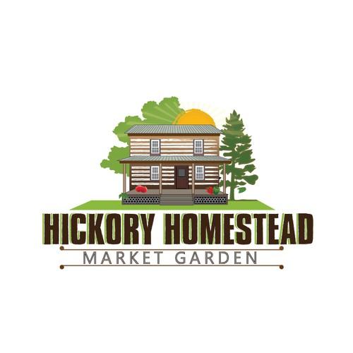 a vintage cabin logo for a market garden