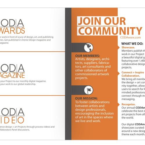 Create a brochure for design + art website, CODAworx