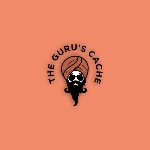 a bold iconic logo for the guru's cache