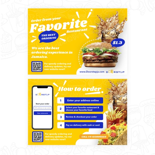 Fun & Bold flyer design for the best food delivery company