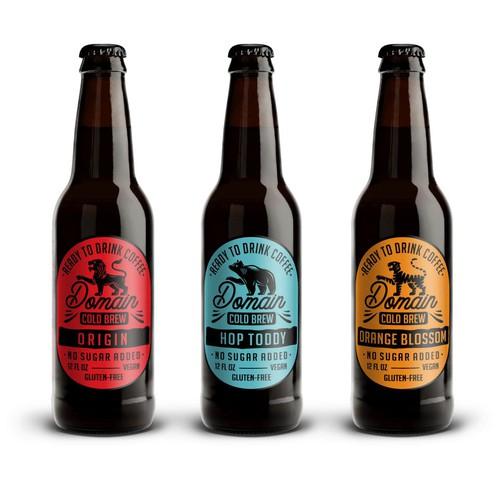 Domain Cold Brew Coffee Label Designs