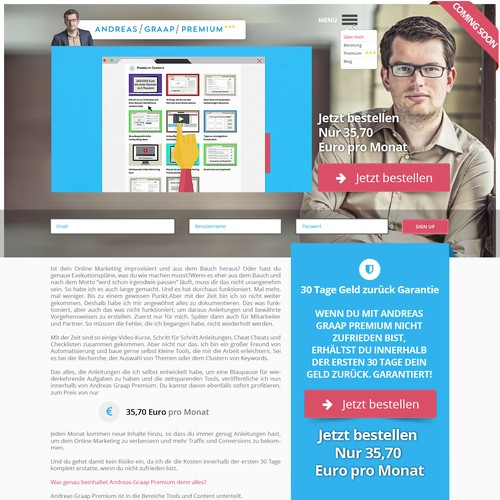 Redesign of a Landing Page (Online Marketing)